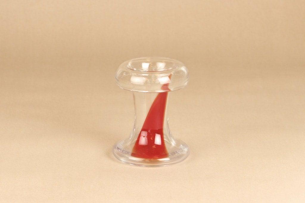 Riihimäen lasi taidelasi, kirkas, punainen, suunnittelija Tamara Aladin, signeerattu