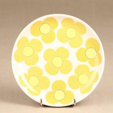 Arabia Aurinko lautanen, keltainen, suunnittelija Esteri Tomula, serikuva