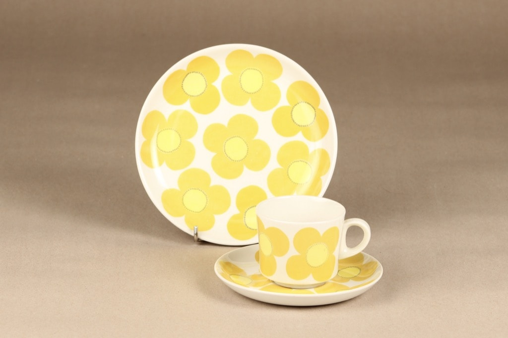 Arabia Aurinko kahvikuppi, keltainen