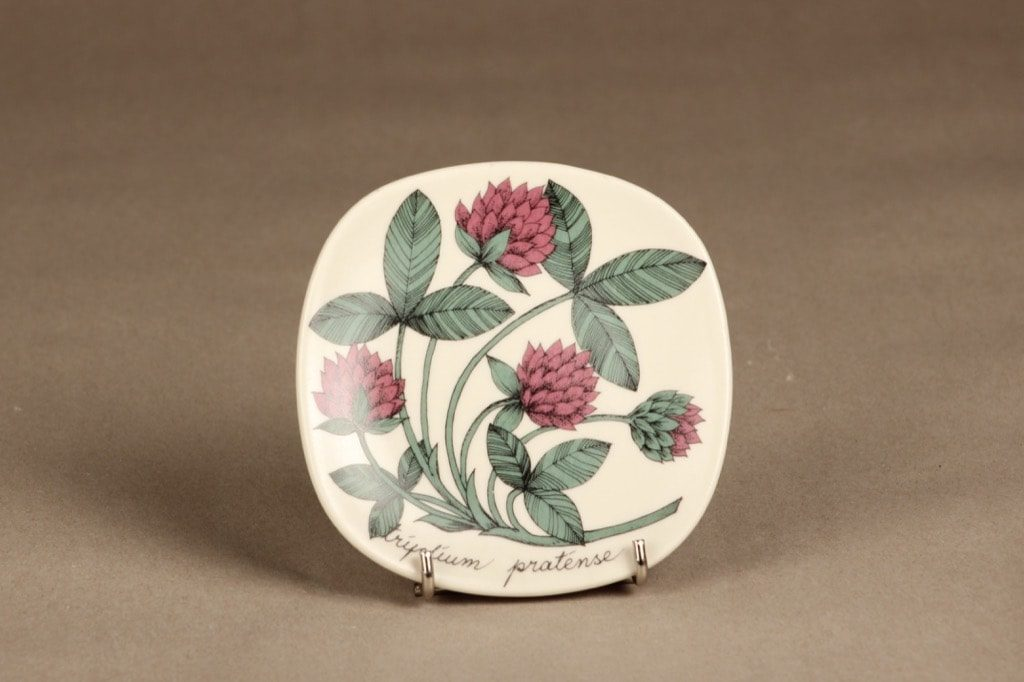 Arabia Botanica koristelautanen, Puna-apila, suunnittelija Esteri Tomula, Puna-apila, kukka-aihe