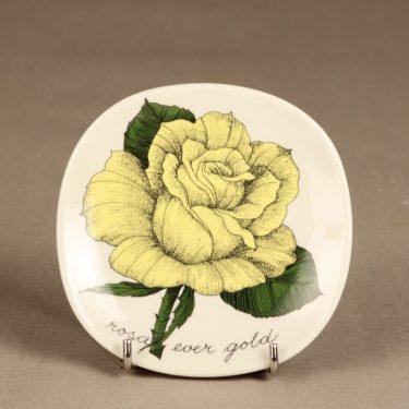 Arabia Botanica koristelautanen, Rosa ever gold, suunnittelija Esteri Tomula, Rosa ever gold, kukka-aihe