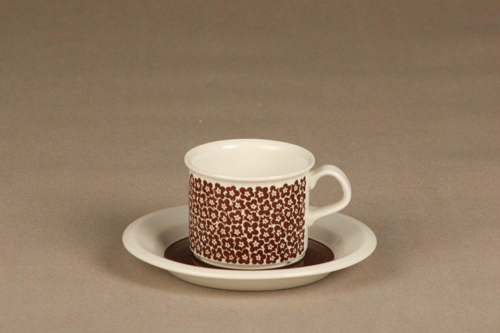 Arabia Faenza kahvikuppi, ruskea, suunnittelija Inkeri Seppälä, serikuva
