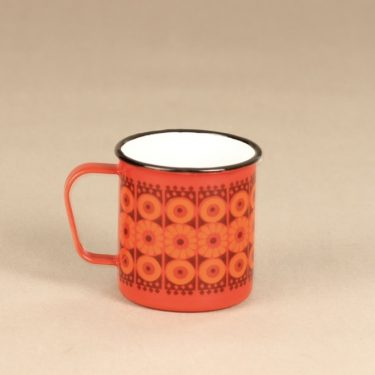 Finel Kehrä mug, red, designer Raija Uosikkinen, silk screening, retro