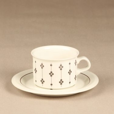 Arabia Kartano teekuppi, mustavalkoinen, 2 kpl, suunnittelija Esteri Tomula, painettu ja maalattu