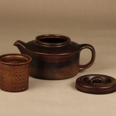 Arabia Ruska teekannu, 1,35 l, suunnittelija Ulla Procope, 1,35 l, ruskea lasite kuva 2