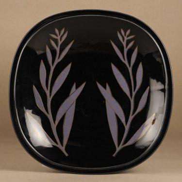 Arabia ceramics platter, black, designer Pauli Partanen