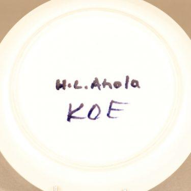 Arabia Hehku lautanen, käsinmaalattu, suunnittelija Hilkka-Liisa Ahola, käsinmaalattu, prototyyppi kuva 2