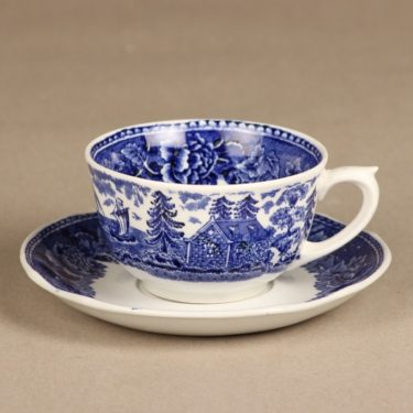 Arabia Maisema coffee cup, blue, copper ornament