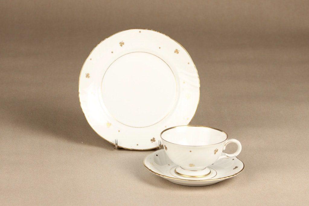 Arabia Apila kahvikuppi ja lautaset, painokoriste, suunnittelija Olga Osol, painokoriste, kullattu