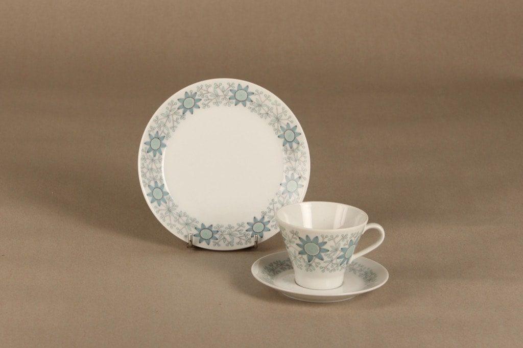 Arabia Tuulikki coffee cup, saucer and plate, silk screening, Raija Uosikkinen,
