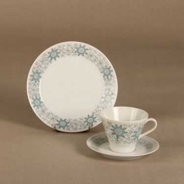 Arabia Tuulikki coffee cup, saucer and plate, silk screening, Raija Uosikkinen,