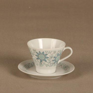 Arabia Tuulikki coffee cup, saucer and plate, silk screening, Raija Uosikkinen, 2