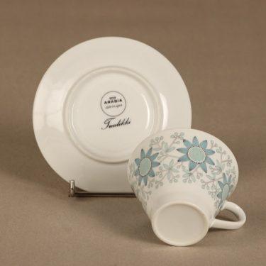 Arabia Tuulikki coffee cup, saucer and plate, silk screening, Raija Uosikkinen, 4