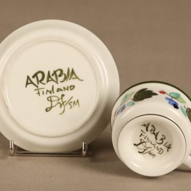 Arabia Palermo mokkakuppi, 10 cl, suunnittelija Ulla Procope, 10 cl, käsinmaalattu, signeerattu kuva 2