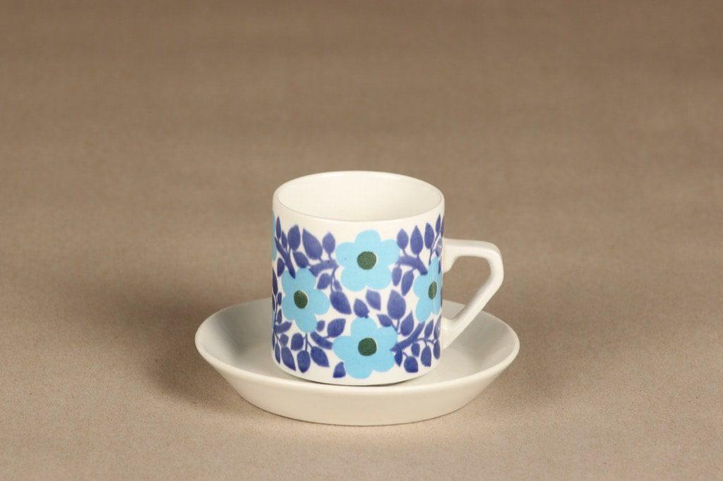 Arabia Ahmet kahvikuppi, sininen, suunnittelija Raija Uosikkinen, serikuva