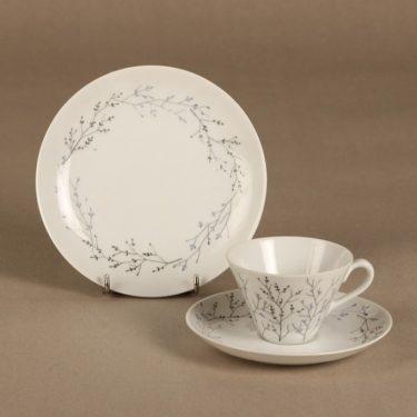 Arabia Oksa kahvikuppi ja lautaset, suunnittelija Gunvor Olin, serikuva, signeerattu