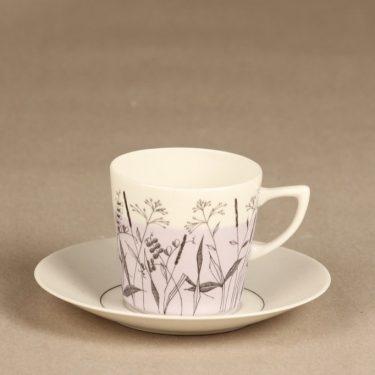 Arabia Kesä II kahvikuppi ja lautaset, lila, suunnittelija Esteri Tomula, painokuva, maalattu kuva 2
