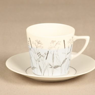 Arabia Kesä II kahvikuppi ja lautaset, vaaleansininen, suunnittelija Esteri Tomula, painokuva, maalattu kuva 2