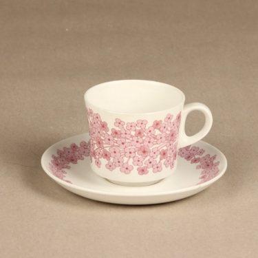 Arabia Leena kahvikuppi, vaaleanpunainen, suunnittelija Raija Uosikkinen, serikuva
