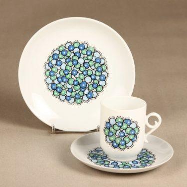 Arabia Marina II kahvikuppi ja lautaset, sinivihreä, suunnittelija Anja Jaatinen-Winquist, serikuva