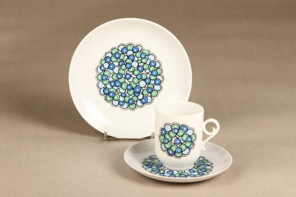 Arabia Marina II coffee cup, saucer and plate, bluish green, Anja Jaatinen-Winquist