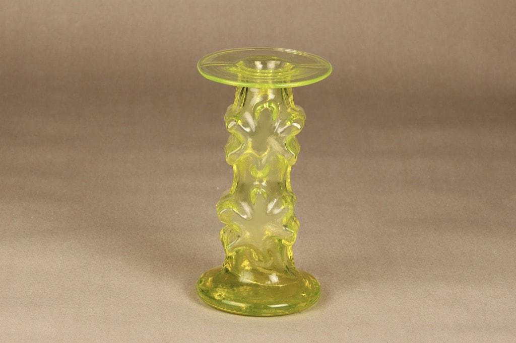 Riihimäen lasi Kasperi kynttilänjalka, keltainen