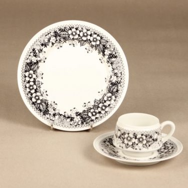 Arabia Talvikki coffee cup, black and white, Raija Uosikkinen