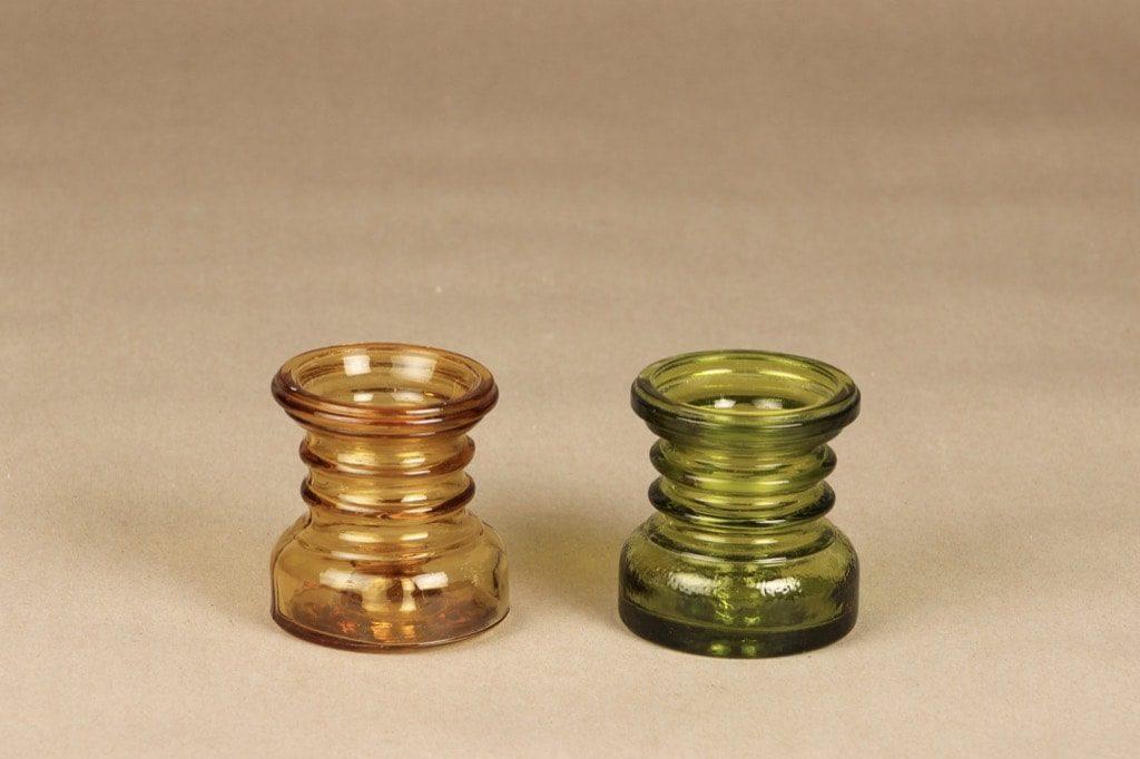 Riihimäen lasi Carmen kääntömaljakot, vihreä, amber, suunnittelija Tamara Aladin,