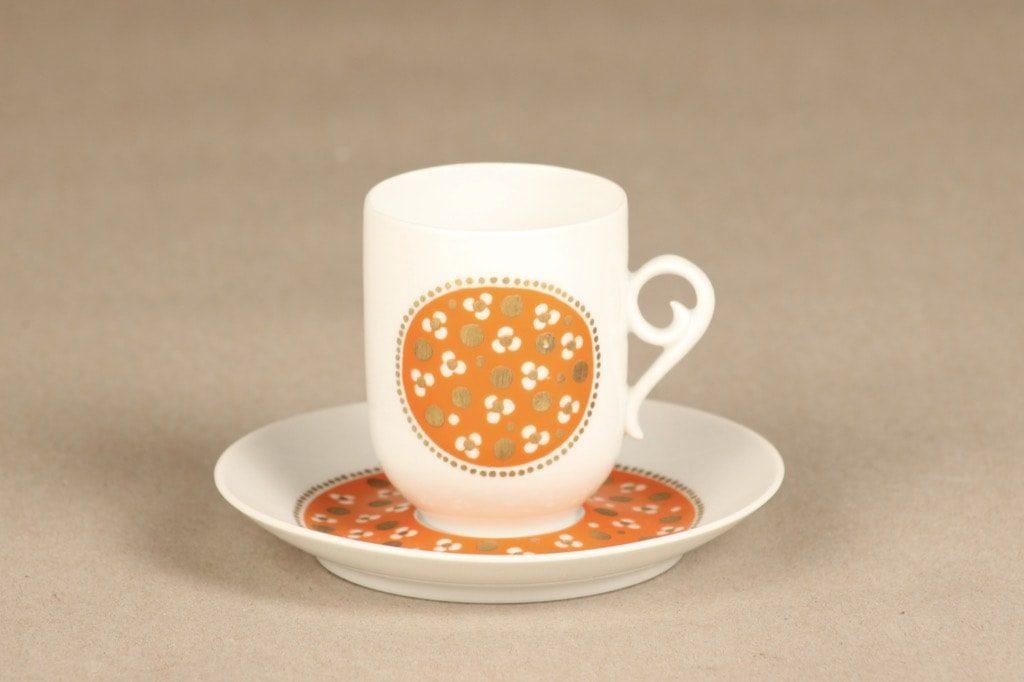 Arabia Pimpinella kahvikuppi, oranssi, suunnittelija Anja Jaatinen, serikuva