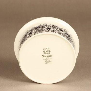 Arabia Krokus kulho, mustavalkoinen, suunnittelija Esteri Tomula, painokoriste kuva 3