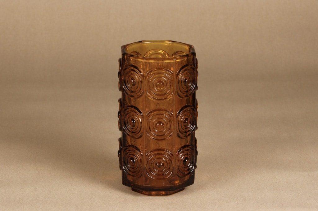 Riihimäen Lasi Rengas maljakko, amber, suunnittelija Tamara Aladin, massiivinen