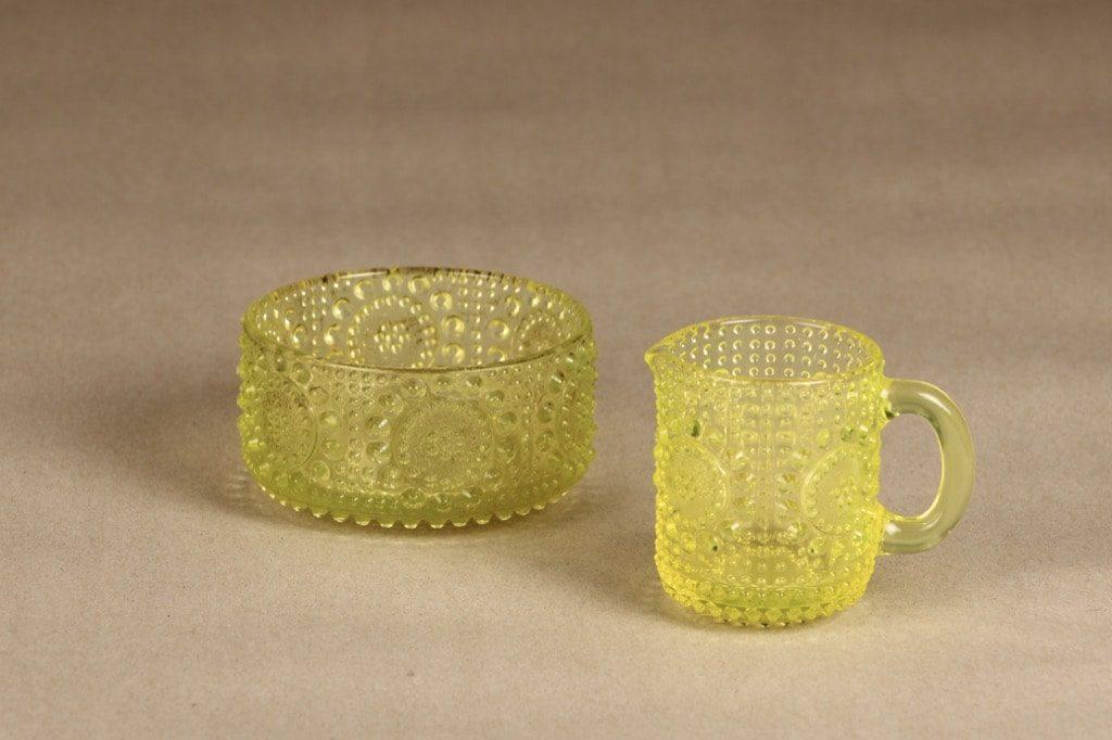 Riihimäen lasi Grapponia sokerikko ja kermakko, keltainen, suunnittelija Nanny Still,