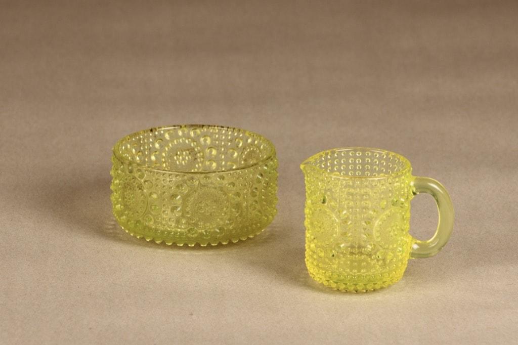 Riihimäen lasi Grapponia sokerikko ja kermakko, keltainen