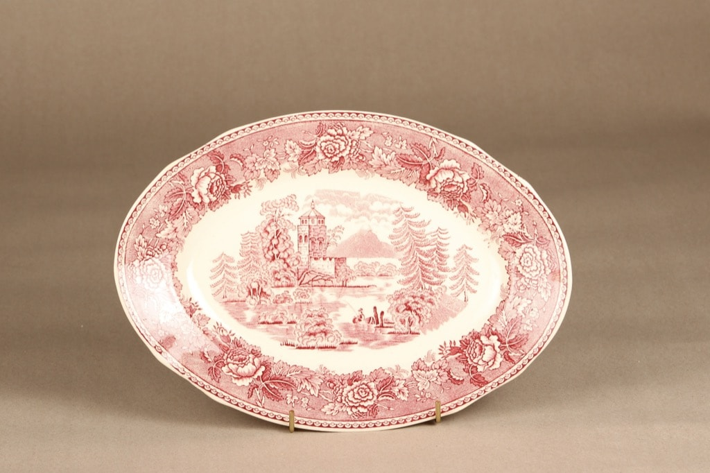 Arabia Maisema platter, red, copper ornament