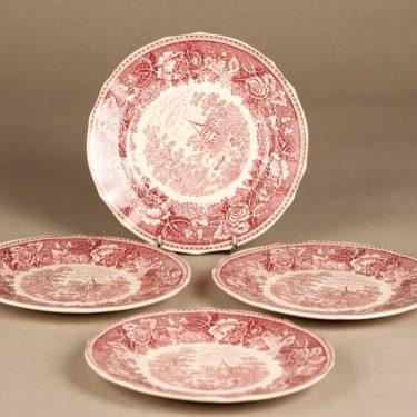 Arabia Maisema plates, red, 4 pcs, copper ornament