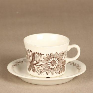 Arabia Elina teekuppi, ruskea, suunnittelija Esteri Tomula, serikuva