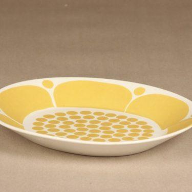 Arabia Sunnuntai lautanen, keltainen, suunnittelija Birger Kaipiainen, painokoriste