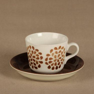Arabia AA coffee cup, blown decoration, brown