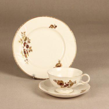 Arabia 1673, RE coffee cup, saucer, plate, silk screening