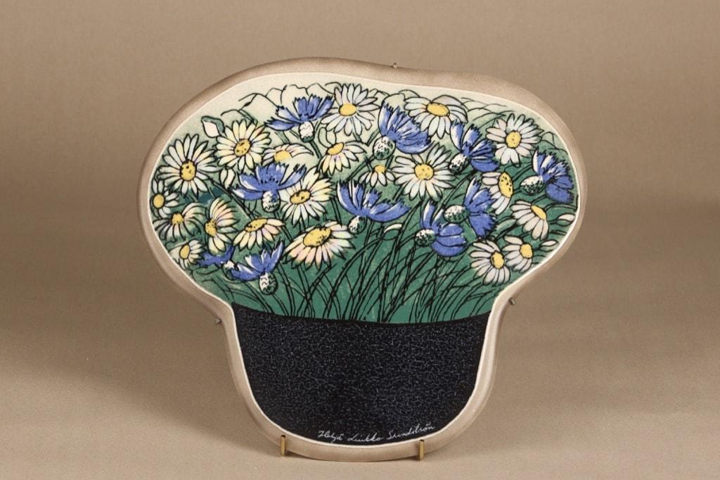 Arabia wall plate Cornflower and White Oxeye designer Heljä Liukko-Sundström