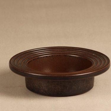 Arabia Ruska ash tray, brown, designer Ulla Procope, brown glazing, signed
