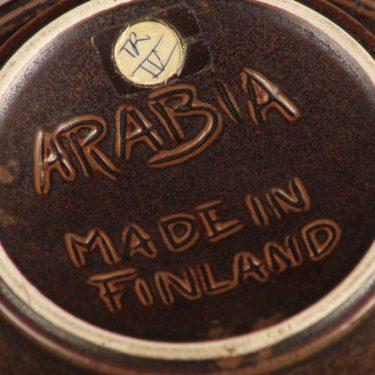 Arabia Ruska tuhka-astia, ruskea, suunnittelija Ulla Procope, ruskea lasite, signeerattu kuva 3
