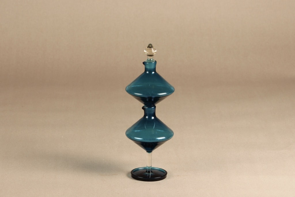 Riihimäen lasi Harlekiini etikka- ja öljykarahvi, sininen, 2 kpl