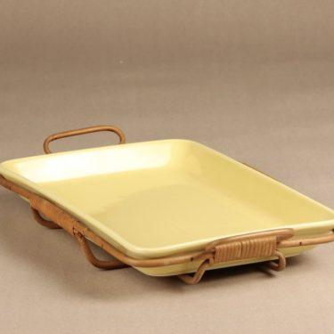 Arabia Kilta vati, keltainen, suunnittelija Kaj Franck, rottinkiteline kuva 2