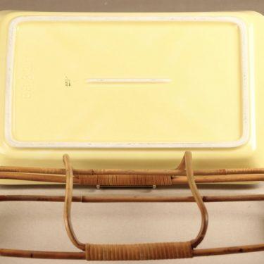 Arabia Kilta vati, keltainen, suunnittelija Kaj Franck, rottinkiteline kuva 3
