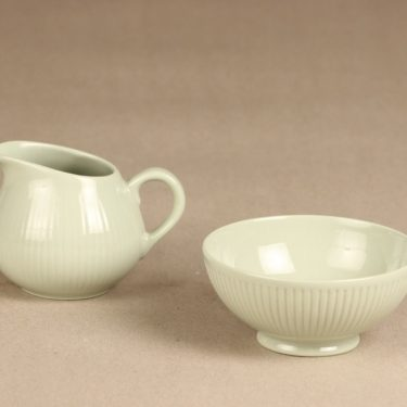 Arabia Sointu sugar bowl and creamer, green, Kaj Franck