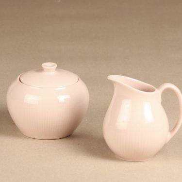 Arabia Sointu sokerikko ja kermakko, vaaleanpunainen, suunnittelija Kaj Franck,
