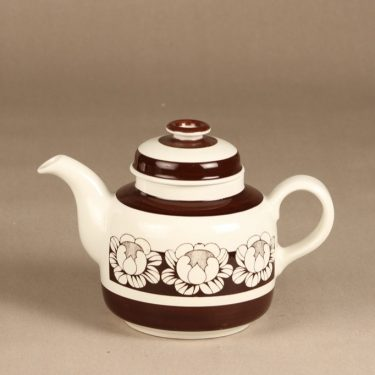 Arabia Katrilli tea pot, brown, designer Esteri Tomula, silk screening