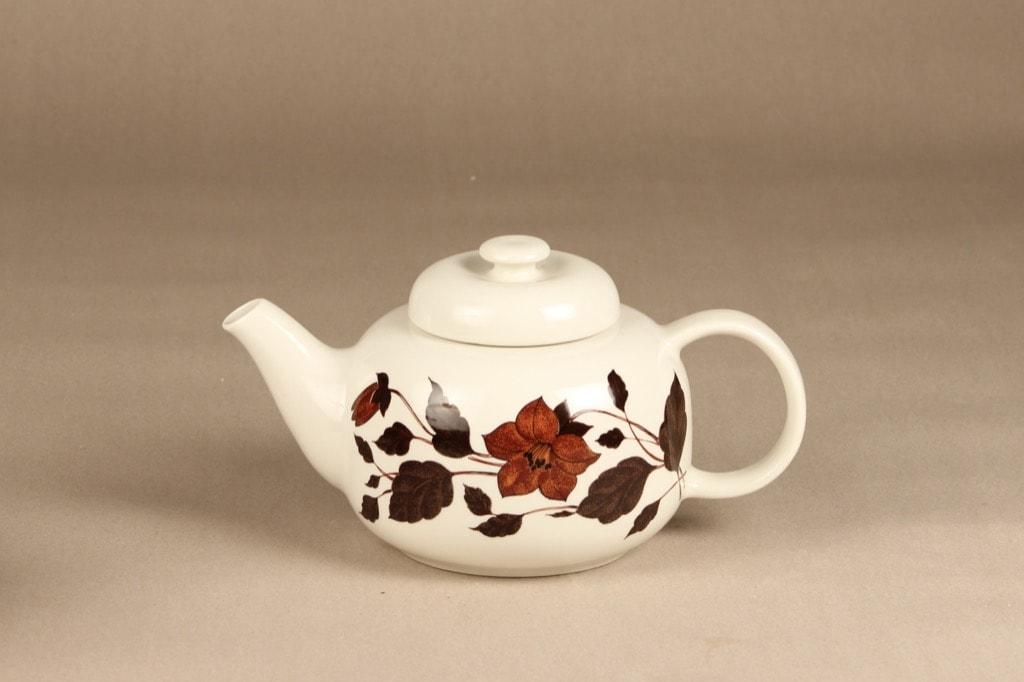 Arabia Tea for Two tea pot, brown, designer Gunvor Olin-Gronqvist, silk screening