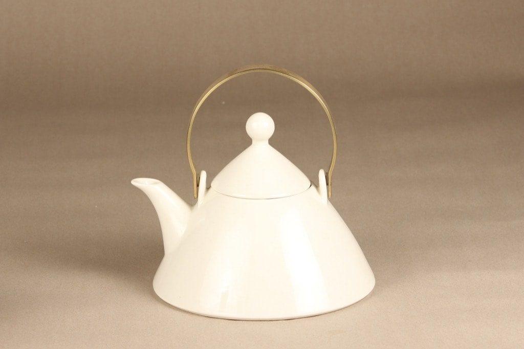 Arabia Harlekin teekannu, valkoinen, suunnittelija Inkeri Leivo,